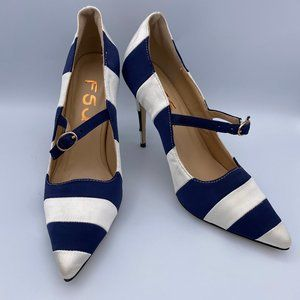 FSJ Blue and White Heels Pump Stiletto Pointed Toe